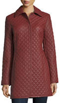 Neiman Marcus Leather Collection Women's Quilted Leather Trench Coat, Plus Size