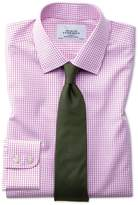 Classic Fit Non-Iron Grid Check Pink Cotton Dress Shirt Single Cuff Size 15.5/33 by Charles Tyrwhitt