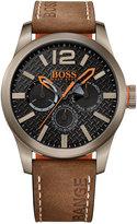BOSS ORANGE Men's Chronograph Paris Brown Nubuck Leather Strap Watch 47mm 1513240