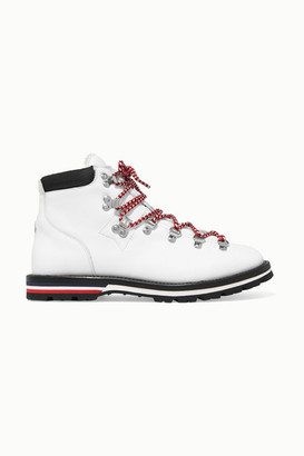 Moncler Blanche Shearling-lined Leather Ankle Boots - White