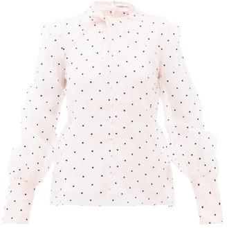 Erdem Fayola Polka Dot-flocked Silk-blend Organza Blouse - Womens - Light Pink