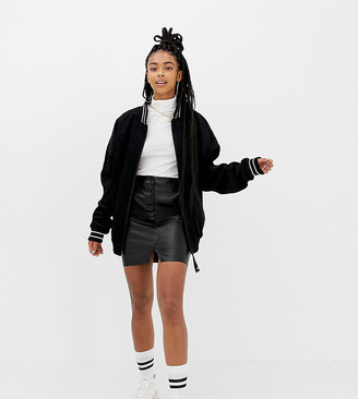 Collusion COLLUSION leather look mini skirt with button front