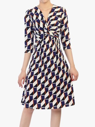 Jolie Moi Twist Front Elbow Sleeved Dress, Navy Geo