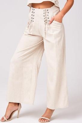 Girls On Film Origin Beige Linen Lace-Up Detail Trousers Co-ord