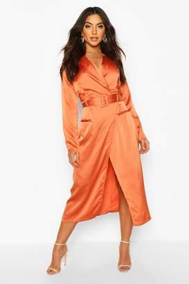 boohoo Satin Plunge Wrap Shirt Dress