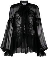 Givenchy sheer long-sleeve blouse