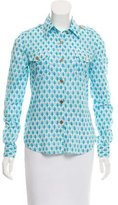 Tory Burch Button-Accented Printed Blouse