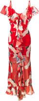 De La Vali Jolene Bird Printed Ruffle Slip Gown