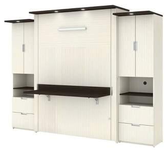 Lumina Bestar Queen 3 Piece Wall Bed with Desk and 2 Storage Units White Chocolate/Dark Chocolate