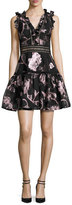 Rebecca Taylor Metallic Floral Fil Coupe Fit & Flare Dress, Camellia