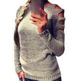 WINSON Fashion Women Hollow Shoulder Round Collar Women Sweater Knitwear Pullover