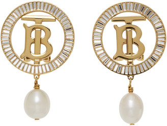Burberry Gold TB Pearl Earrings