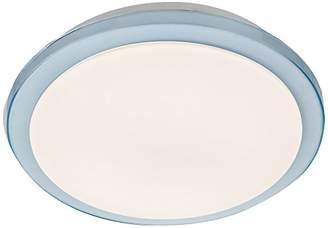 Lighting Collection LED Bathroom Ip44 Flush, Blue Trim Shade, Steel, 18 W, White