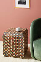 Anthropologie Tessellated Inlay Cube Side Table