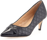 Neiman Marcus Lallie Quilted Cap-Toe Pump, Navy