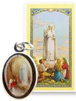 Gifts by Lulee Our Lady of Fatima Silver Plated Medal Free Prayer Card Blessed By His Holiness (Fatima-english)
