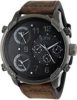 "JBW Men's J6248L-K ""G4"" Multi-Time Zone Vintage Brown Leather Watch"