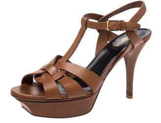 Saint Laurent Paris Brown Leather Tribute Platform Ankle Strap Sandals Size 37.5