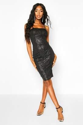 boohoo Glitter Square Neck Cami Midi Dress