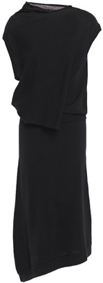 McQ Asymmetric Draped Wool Midi Dress