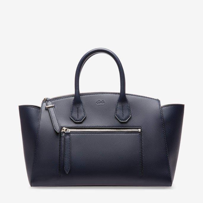 Bally Sommet Zip Medium Blue, Women's medium grained bovine leather top handle bag in ink