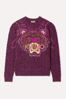 Kenzo Appliqued Melange Wool And Cotton-blend Sweater - Fuchsia