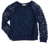 Soprano Girl's Lace Overlay Sweatshirt