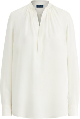 Ralph Lauren Silk-Blend Long-Sleeve Blouse