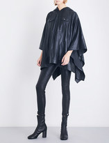 A.F.Vandevorst Waterfall-hem hooded leather poncho