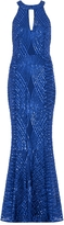 Quiz Royal Blue Sequin and Mesh Fishtail Maxi Dress