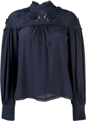 See by Chloe floral embroidery blouse