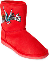 Love Moschino Red Embroidered Tattoo Faux Sheepskin Boots