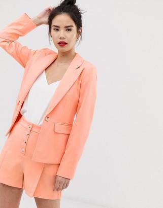 Miss Selfridge tailored blazer in apricot-Orange