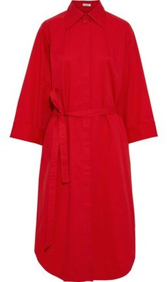 Nina Ricci Belted Shirred Cotton-poplin Midi Shirt Dress