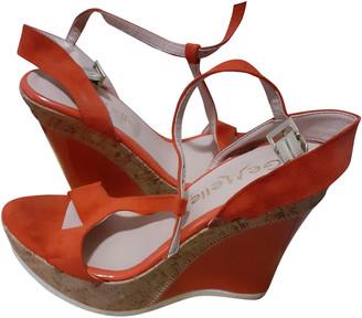 C.b. Made In Italy Red Velvet Sandals