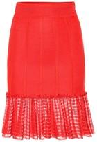 Alexander McQueen Organza-trimmed knit miniskirt