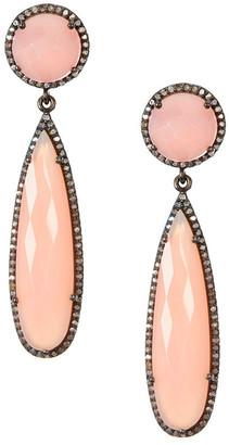 Adornia Fine Silver Pink Chalcedony Drop Earrings