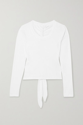 YEAR OF OURS Tie-detailed Ruched Cotton-jersey Top - White