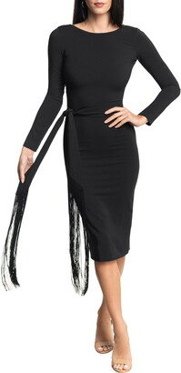 Dress the Population Caro Stretch Crepe Long Sleeve Midi Dress