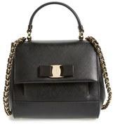 Salvatore Ferragamo 'Small Carrie' Leather Top Handle Satchel - Black