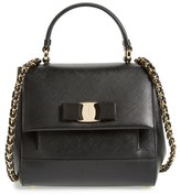 Salvatore Ferragamo Small Saffiano Leather Bow Top Handle Satchel - Black