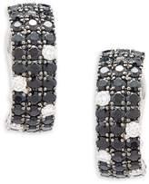 Roberto Coin Women's Diamond, Black Sapphire and 18K White Gold Stud Earrings