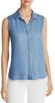 NYDJ Petites Button Back Vara Chambray Tank