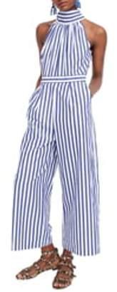 J.Crew Stripe Halter Wide Leg Jumpsuit