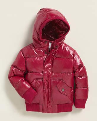 Appaman Newborn Girls) Slick Glitter Puffer Down Bomber Jacket