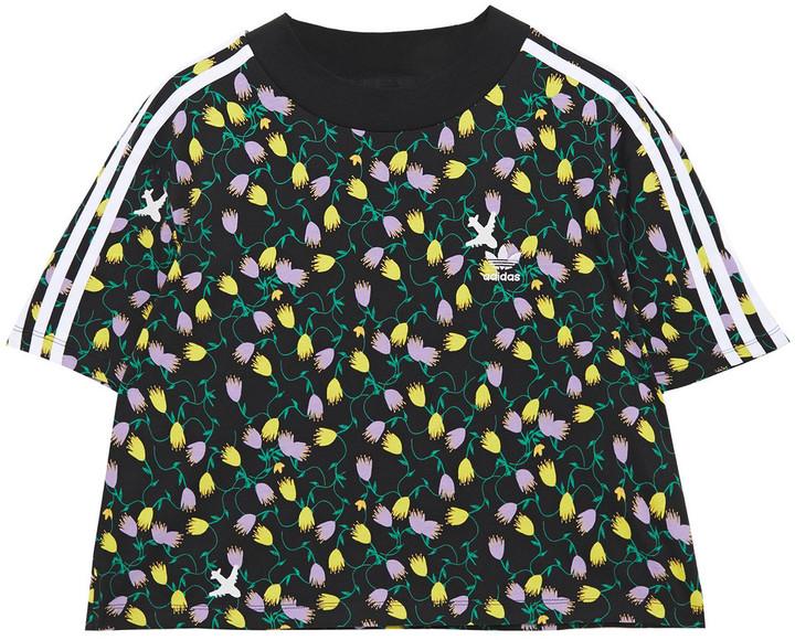 adidas Cropped Printed Cotton-jersey T-shirt
