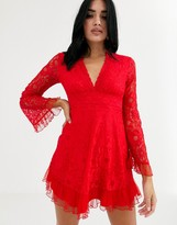 Love Triangle plunge front lace skater dress in red