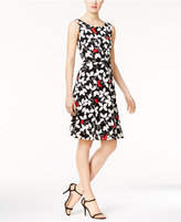 Nine West Belted Floral-Print A-Line Dress