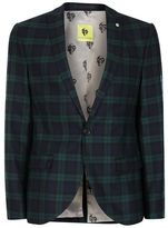 Topman NOOSE & MONKEY Green and Navy Check Suit Jacket