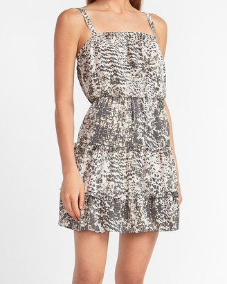 Express Animal Print Tiered Mini Dress